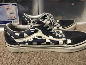 Vans navy blue checkered with fire Size 7 for Sale in San Jose, CA
