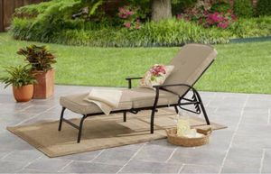 Mainstays Belden Park Outdoor Chaise Lounge with Cushions for Patio and Deck, Tan for Sale in Hayward, CA