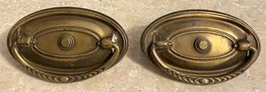 """Vintage Antique Set Of 2 Oval 3-1/8"""" Long Cabinet Dresser Drawer Brass Pull Drop Handle Knobs With Screws for Sale in Chapel Hill, NC"""