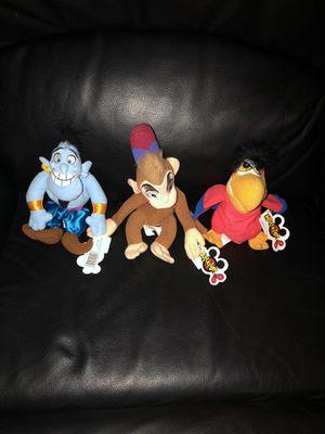 Disney Aladdin Beanie Babies Brand New with Tags (Genie, Abu, Iago) for Sale in Fresno, CA