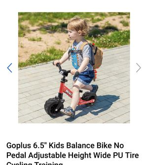 Goplus 6.5'' Kids Balance Bike No Pedal Adjustable Height Wide PU Tire Cycling Training for Sale in La Puente, CA