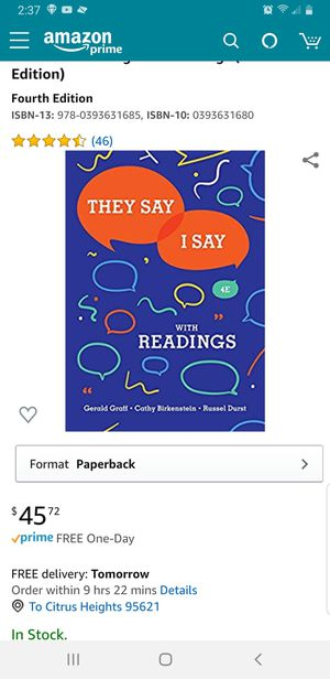 They say i say 4E with reading for Sale in Sacramento, CA