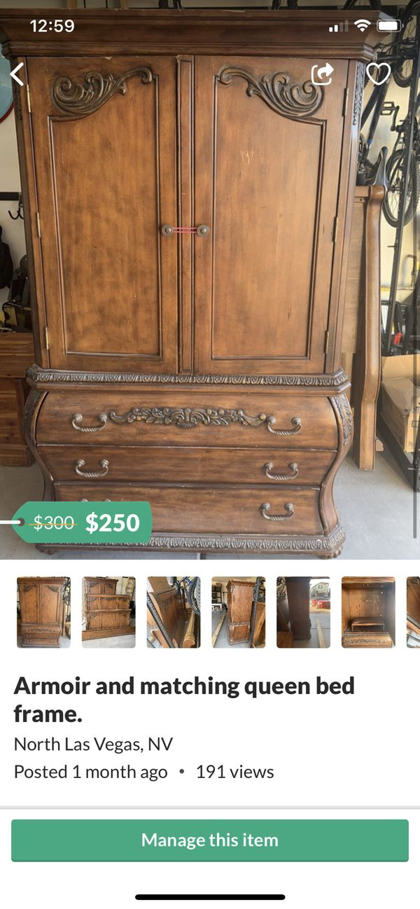Real solid wood armoir and match queen bed frame