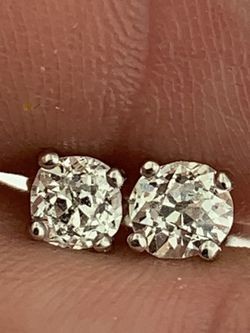 0.70 Carat Old Mine Cut Round Natural Diamond Stud Earring H Color SI2 Clarity for Sale in Miami,  FL