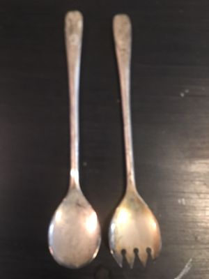 """Vintage 9"""" Silver Plated Buffet Salad Server Spoon / Fork Set - Italy. for Sale in Hemet, CA"""