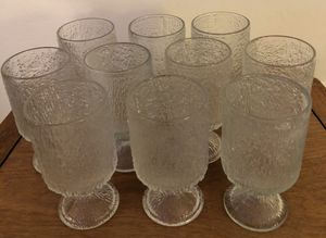 Vintage Indiana Crystal Ice Tree Bark Textured Glasses Barware Retro Mid Century for Sale in Phoenix, AZ