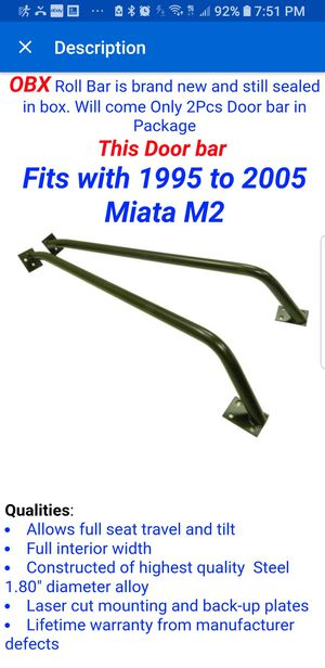 Mazda Miata part: side door crash bar for Sale in Miramar, FL