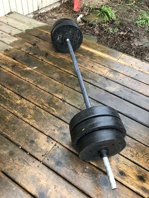 Barbell with weights for Sale in Beaverton, OR