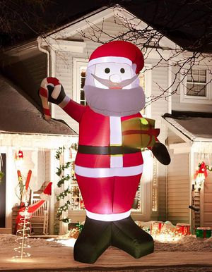 8 Ft Christmas Inflatable Santa Claus Decoration Xmas Santa Hold Gift Box Decorations for Home Yard Lawn Outdoor Indoor Night for Sale in Houston, TX