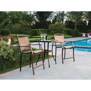 3-Piece Outdoor Bar Height Bistro Set for Patio and Porch in Tan Home Furniture for Sale in Los Angeles, CA