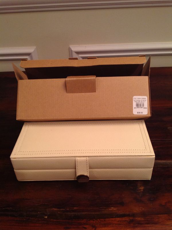 BRAND NEW IN BOX- POTTERY BARN ivory McKENNA jewelry box! Great for  traveling or keeping valuables elegantly safe for Sale in Libertyville, IL  -