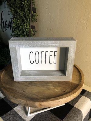 Rae Dunn COFFEE Wood Gray Stand for Sale in San Bernardino, CA
