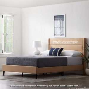 NEW IN THE BOX, MODERN DESIGN,LINEN LIKE FABRIC,TWIN SIZE BED FRAME. for Sale in Westminster, CA