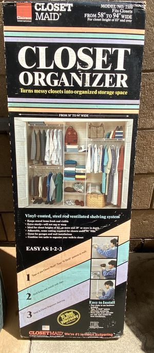 $70/OBO-CLOSET MAID CLAIRSON MODEL 2108 CLOSET ORGANIZER 58 TO 94 INCHES WIDE NEVER OPENED/ UNUSED Priced elsewhere for $100. for Sale in Torrance, CA