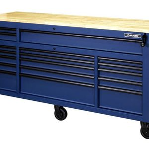 Husky 72 in. 18-Drawer Mobile Workbench with Adjustable-Height Solid Wood Top in Matte Blue for Sale in Avondale, AZ