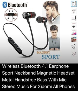 Wireless Bluetooth 4.1 Earphone Sport Neckband Magnetic Headset Metal Handsfree Bass With Mic Stereo Music For Xiaomi All Phones for Sale in Dearborn, MI
