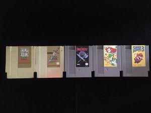 Nintendo NES Classic Games Lot of 5(Zelda I & II Final Fantasy Yoshi Super Mario Bros 3) for Sale in Atlanta, GA