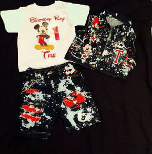 Custom 3 piece boys birthday outfit full for Sale in Columbus, OH
