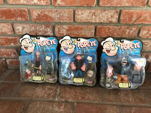 Popeye the sailor man a classic since 1929 toy action figures in the box still sealed never opened unopened for Sale in San Diego, CA
