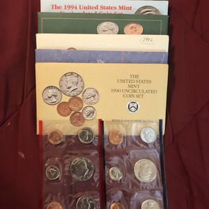 Coins – uncirculated mint sets-1990 through 1995 – Philadelphia and Denver packets for Sale in Marietta, GA