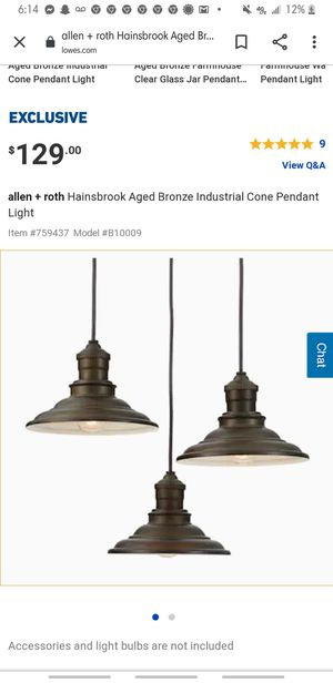 allen + rothHainsbrook Aged Bronze Industrial Cone Pendant Light for Sale in Jacksonville, NC