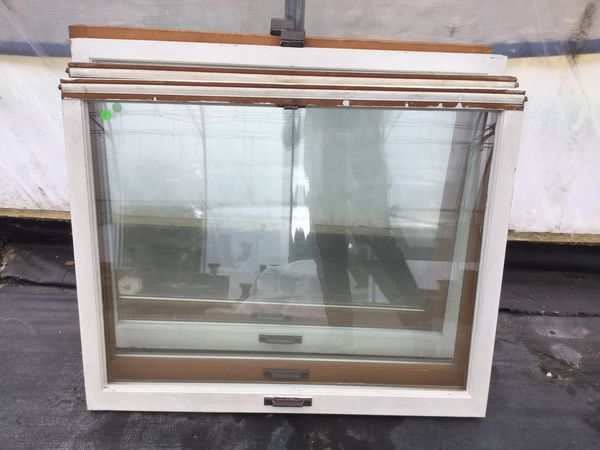 Assorted old fir windows. Stained on inside - Painted white on outside