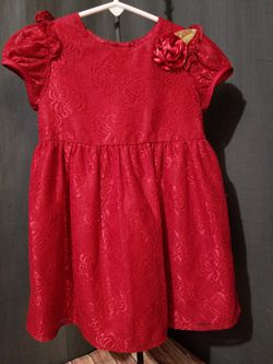 Red Girls Holday Christmas Dress Lace flower sz 3 for Sale in Seattle,  WA