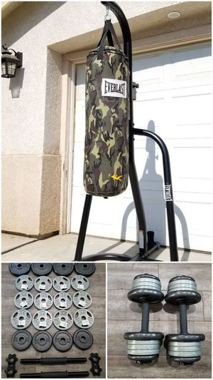 << EVERLAST >> PUNCHING BAG + STAND + 70 LBS ADJUSTABLE DUMBBELL SET [[FREE LOCAL DELIVERY! ]] for Sale in Perris, CA