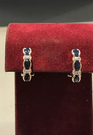 14k Sapphire Earrings(REAL DIAMONDS) for Sale in Houston, TX
