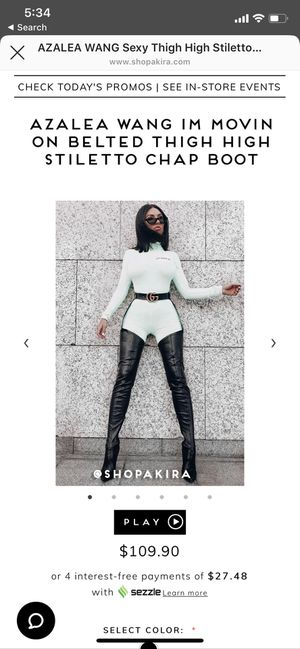 Azalea Wang Belted Thigh High Latex Black Boots for Sale in Arlington, VA