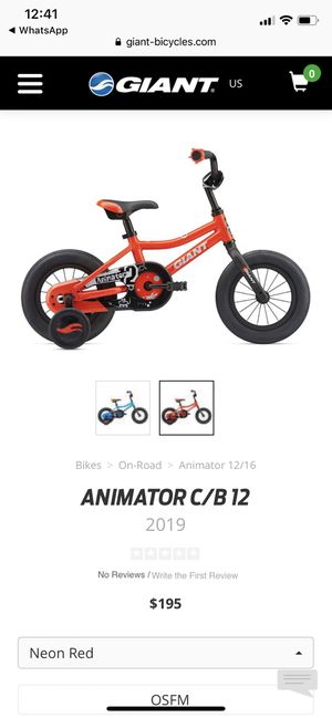 Child kid bike giant animator bicycle with helmet for Sale in Windermere, FL