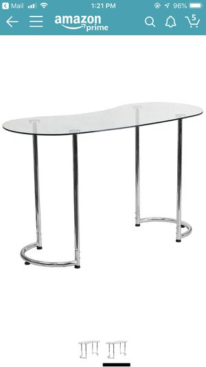 Flash Furniture Contemporary Desk with Curvaceous Clear Tempered Glass for Sale in Los Angeles, CA