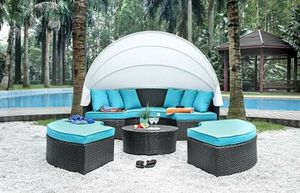 WHITE AWNING OUTDOOR POOL SIDE PATIO FURNITURE SET Turquoise Fabric Cushions UV & Water Resistan SOFA DAY-BED OTTOMANS for Sale in San Diego, CA