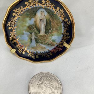 LIMOGES France miniature porcelain vintage plate Lourdes apparition objets d'art collectible cabinet display gilt gold edge French religious for Sale in El Monte, CA