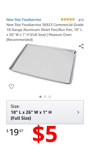 """New Star Foodservice 36923 Commercial-Grade 18-Gauge Aluminum Sheet Pan/Bun Pan, 18"""" L x 26"""" W x 1"""" H (Full Size)  Measure Oven (Recommended) for Sale in Ontario, CA"""