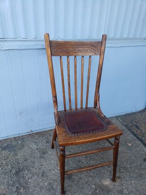Antique chair with leather seat for Sale in Nipomo, CA