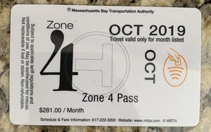 MBTA Zone 4 Oct 2019 monthly pass for Sale in Sharon, MA