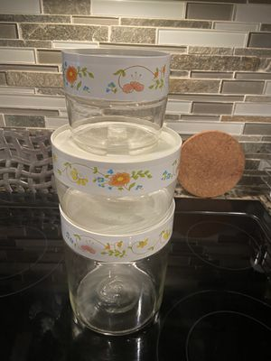 Pyrex Store n See Wildflower 3 Piece Canister Set for Sale in Renton, WA