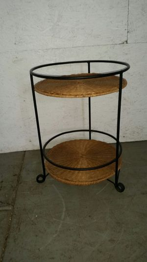 2 Tier Wrought Iron and Wicker Stand for Sale in Baltimore, MD