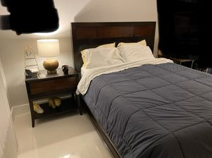 Queen Bed frame, Boxspring & Nightstand for Sale in Miami, FL