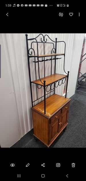 Wooden wine rack kitchen stand microwave shelving for Sale in Queens, NY