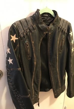 Bermans leather Black rivet jacket for Sale in Falls Church, VA