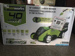 "Green works 16"" cordless lawn mower 40 volts lithium for Sale in Los Angeles, CA"