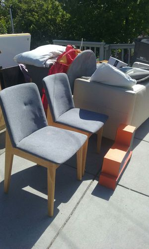 Free furniture white sofa and 2 grey upholstered chairs for Sale in Oakland, CA