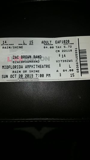 Zac Brown 2 tickets section 14 row L for Sale in St. Petersburg, FL