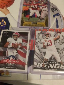 2020 LEAF TUA TAGOVAILOA ROOKIE CARDS 15 EACH OR 3 FOR 40 BUCKS ALL FRESH FROM PACKS IN SLEEVES AND MINT CONDITION CARDS for Sale in Las Vegas,  NV