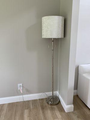 Pier 1 white bamboo style velvet floor lamp for Sale in NC, US