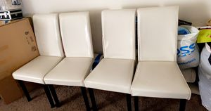4 white leather chairs. have some scratch in leather for Sale in South San Francisco, CA