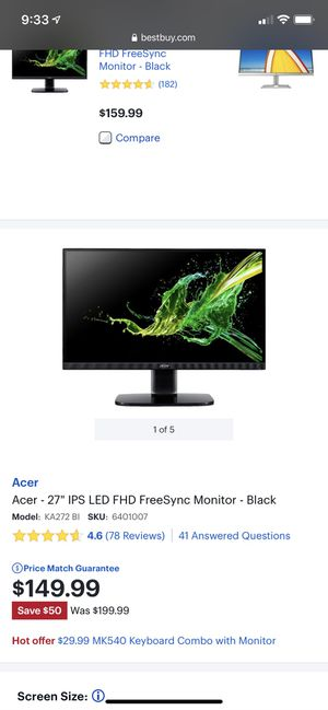 Acer 27inch monitor for Sale in Tucson, AZ