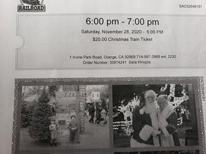 4 tickets to the Irvine Railroad Christmas Train for Sale in Norwalk, CA